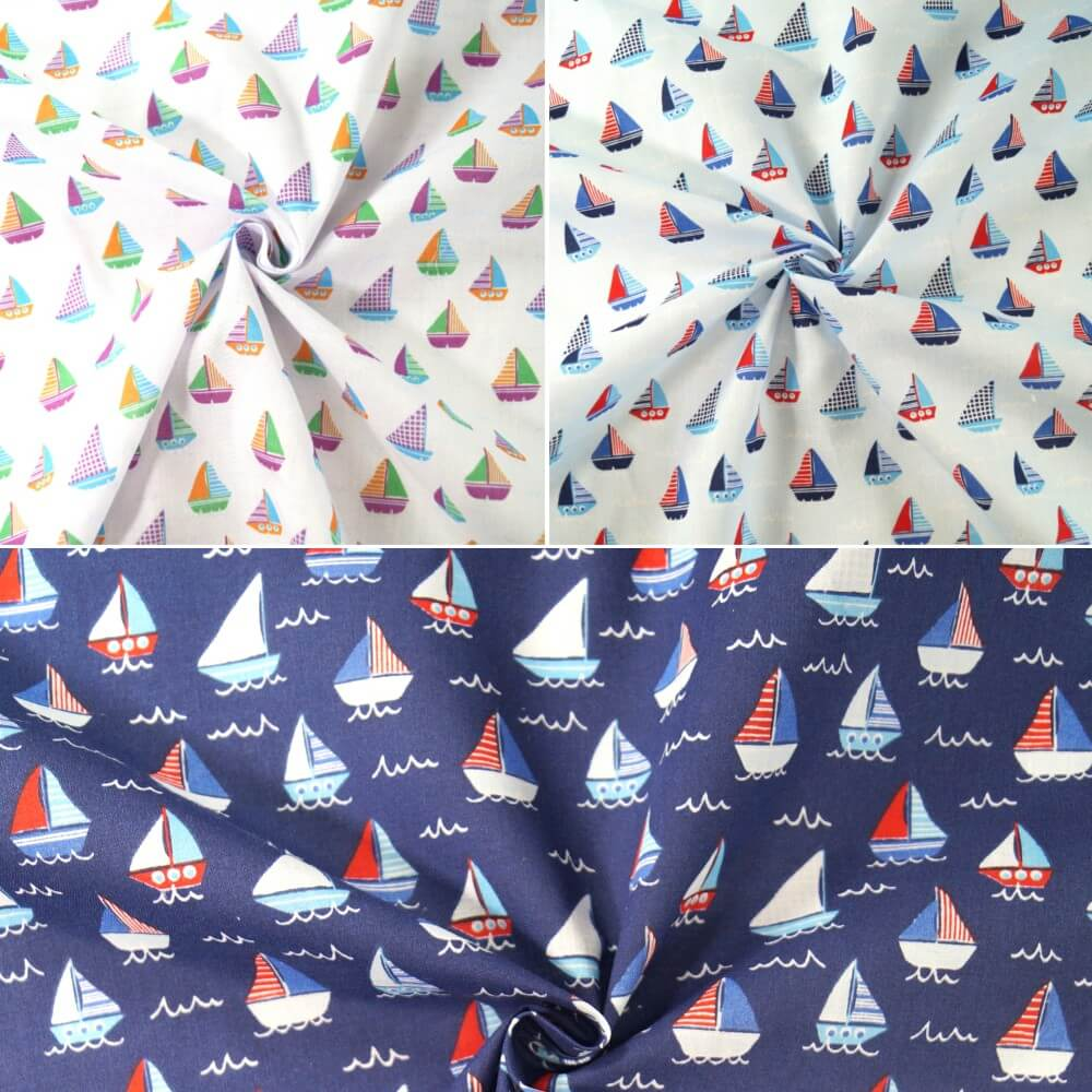 Sailor Rob's Sailing Boat Race Sea Ocean Waves Polycotton Fabric White