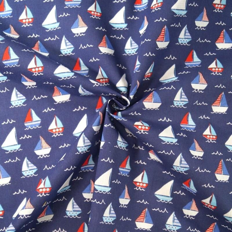 Sailor Rob's Sailing Boat Race Sea Ocean Waves Polycotton Fabric Navy