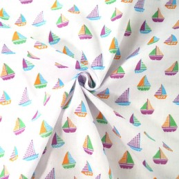 Sailor Rob's Sailing Boat Race Sea Ocean Waves Polycotton Fabric White
