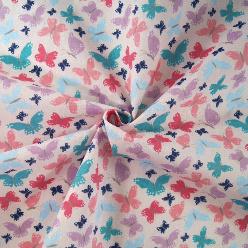 Bright Beaming Butterfly Wings Butterflies Polycotton Fabric Pink