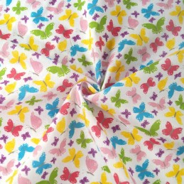 Bright Beaming Butterfly Wings Butterflies Polycotton Fabric White