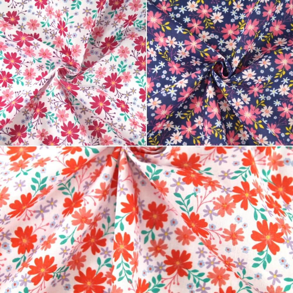 Polycotton Fabric Country Scents Flowers Floral Garden Plants Red