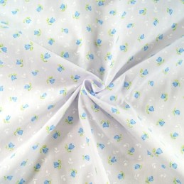 Blooming Tulips Floral Flower Heads White Silhouettes Polycotton Fabric Blue