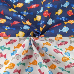 Polycotton Fabric Finding Freedom Fish Aquatic Sealife Water Ocean Sea