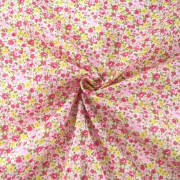 Samantha's Sweet Floral Garden Flowers and Blooms Polycotton Fabric Pink