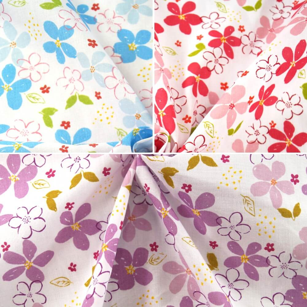 Summer Miracles Flower Heads Petals Floral Polycotton Fabric Blue