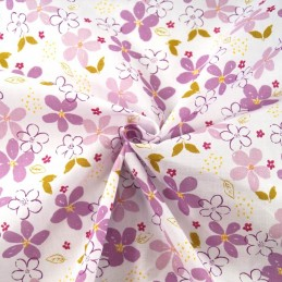 Summer Miracles Flower Heads Petals Floral Polycotton Fabric Lilac