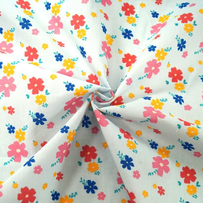 Grove Street Floral Petals Flowers Polycotton Fabric Sky Blue