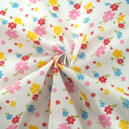 Grove Street Floral Petals Flowers Polycotton Fabric White