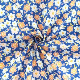 Polycotton Fabric Bunched Flower Heads Floral Daisy Blue