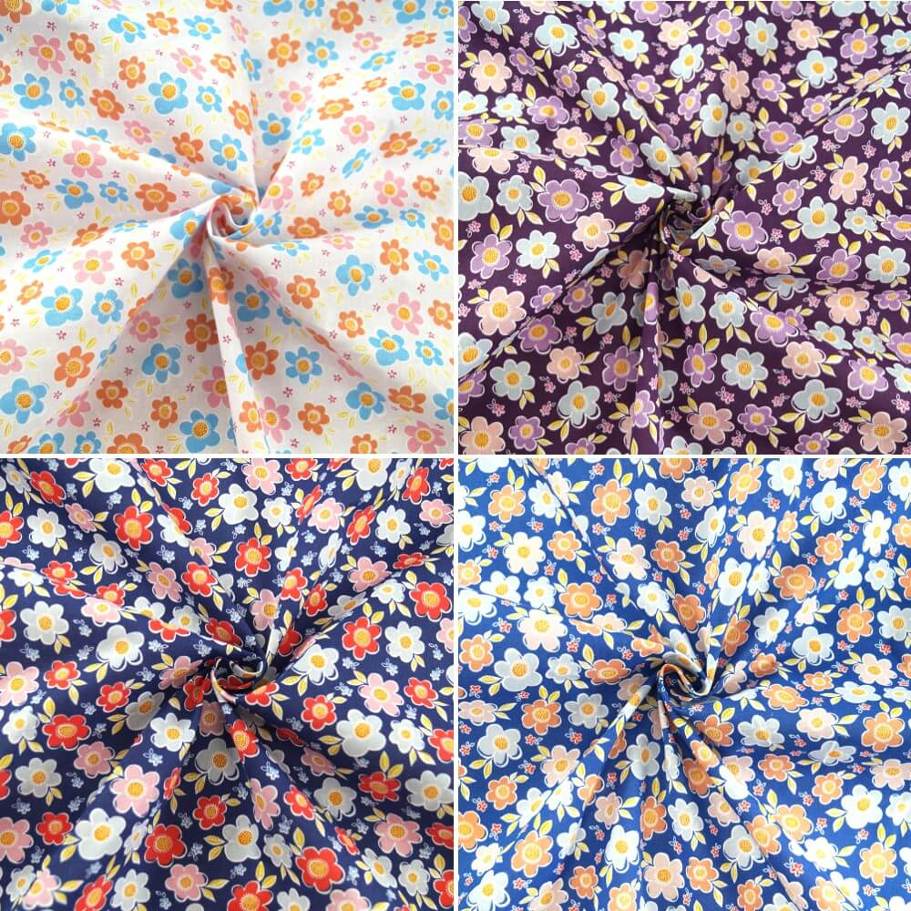 Polycotton Fabric Bunched Flower Heads Floral Daisy Navy