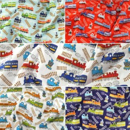 Polycotton Fabric Cartoon Steam Trains Railway Tracks Steam Locomotive