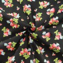 Hand Picked Strawberries Fruit Mini Flowers Polycotton Fabric Black