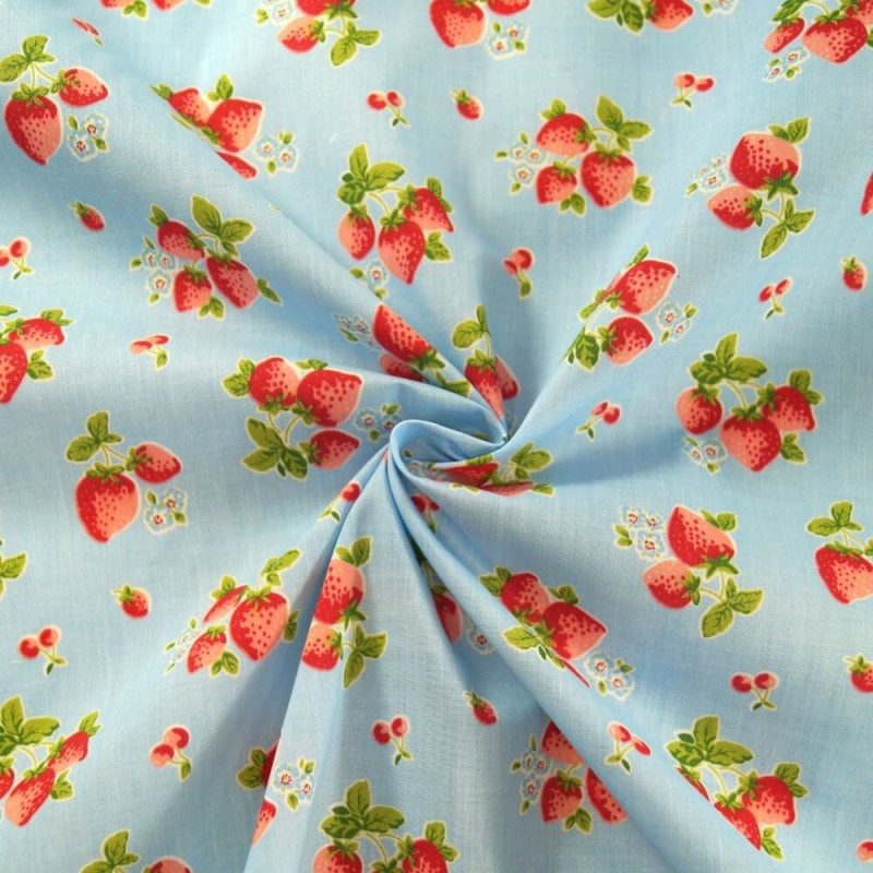Hand Picked Strawberries Fruit Mini Flowers Polycotton Fabric Blue