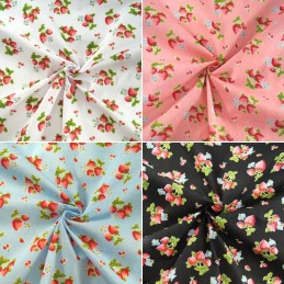 Polycotton Fabric Strawberries Fruit Mini Flowers Strawberry Picnic