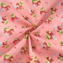 Hand Picked Strawberries Fruit Mini Flowers Polycotton Fabric Pink