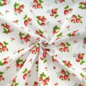 Hand Picked Strawberries Fruit Mini Flowers Polycotton Fabric White