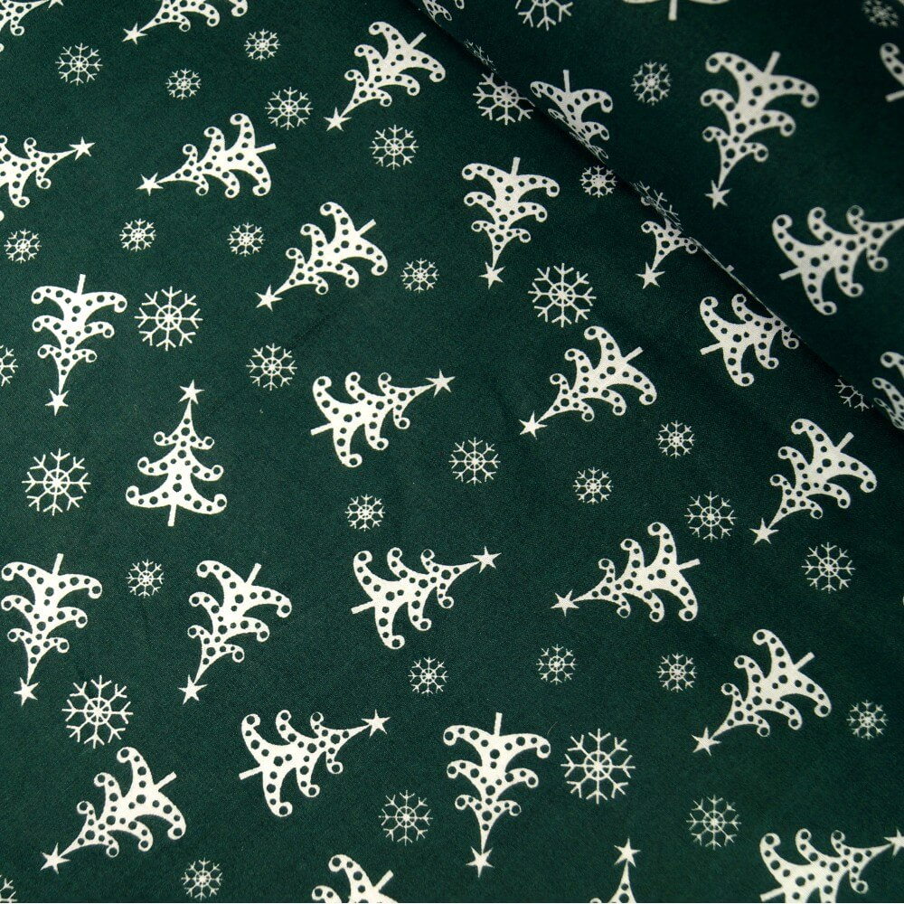 Polycotton Fabric Green Festive Christmas Trees & Snowflakes Xmas