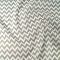 Polycotton Fabric 6mm Zig Zag Chevron Stripes Craft Silver