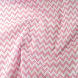Polycotton Fabric 6mm Zig Zag Chevron Stripes Craft Pink