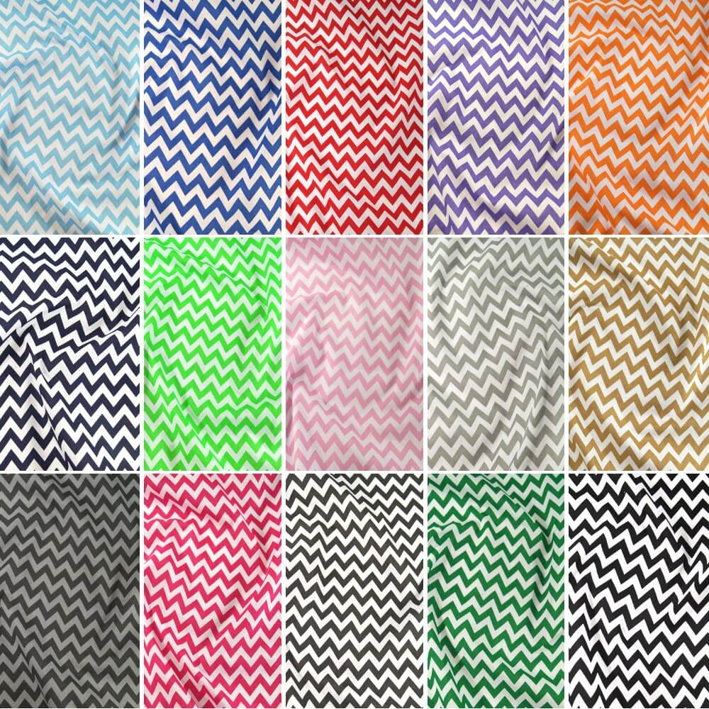Polycotton Fabric 6mm Zig Zag Chevron Stripes Craft Sky