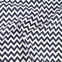 Polycotton Fabric 6mm Zig Zag Chevron Stripes Craft Navy