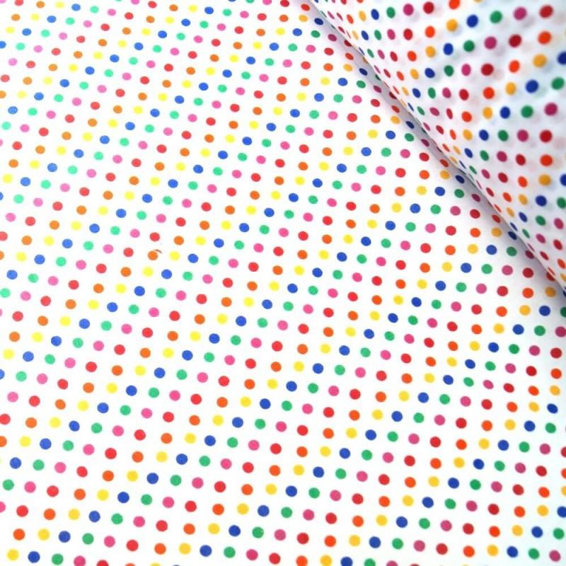 Polycotton Fabric 5mm Polka Dots Rainbow Coloured Sensational Spots Royal Blue/ Red