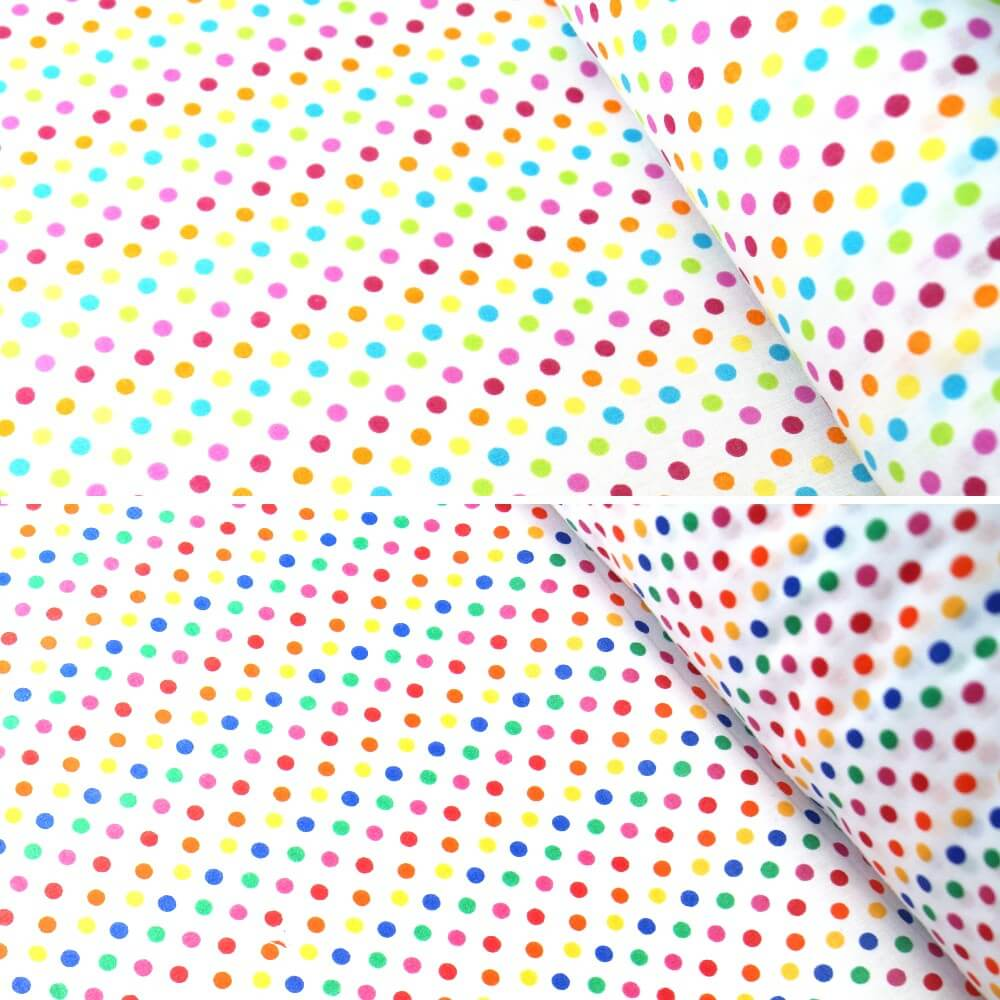Polycotton Fabric 5mm Polka Dots Rainbow Coloured Sensational Spots Pink/ Turquoise