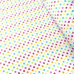 Polycotton Fabric 5mm Polka Dots Rainbow Coloured Sensational Spots Pink/ Turquoise