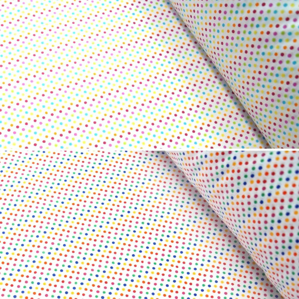 Polycotton Fabric 2mm Polka Dots Rainbow Coloured Sensational Spots Pink/ Turquoise