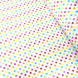 Polycotton Fabric 2mm & 5mm Polka Dots Rainbow Coloured Sensational Spots 5mm Pink/ Turquoise