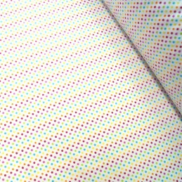 Polycotton Fabric 2mm & 5mm Polka Dots Rainbow Coloured Sensational Spots 2mm Pink/ Turquoise