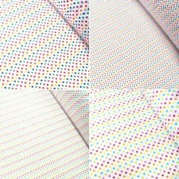 Polycotton Fabric 2mm & 5mm Polka Dots Rainbow Coloured Sensational Spots