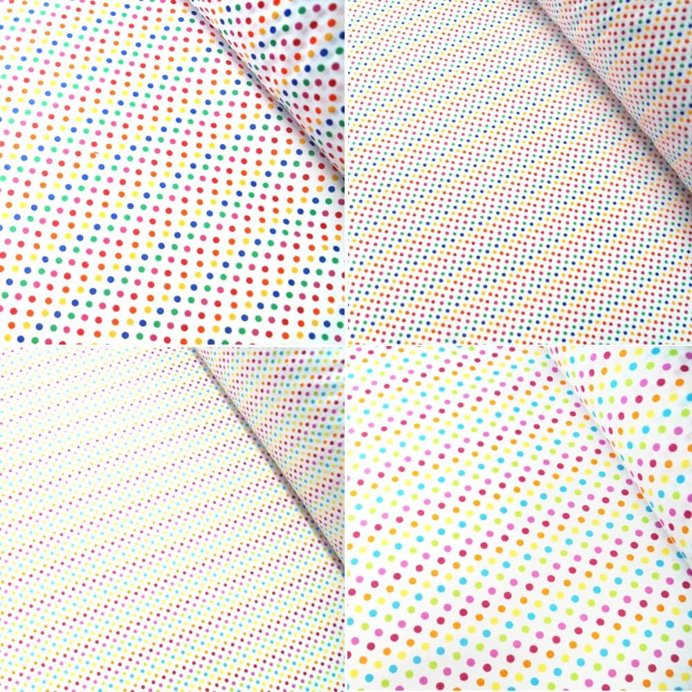 Polycotton Fabric 2mm & 5mm Polka Dots Rainbow Coloured Sensational Spots 2mm Royal Blue/ Red