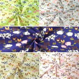Polycotton Fabric Farmer Joe Farmyard Farm Animals Livestock Cows Chickens Pigs