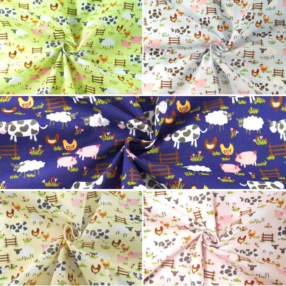 Farmer Joe Friendly Frolicking Farm Animals Field Polycotton Fabric Yello
