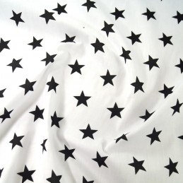 Polycotton Fabric 27mm Starry Sky Stars On White Space Galaxy Black/ White
