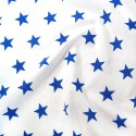 Polycotton Fabric 27mm Starry Sky Stars On White Space Galaxy Royal Blue/ White