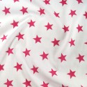 Polycotton Fabric 27mm Starry Sky Stars On White Space Galaxy Cerise/ White