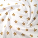 Polycotton Fabric 27mm Starry Sky Stars On White Space Galaxy Gold/ White
