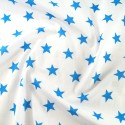 Polycotton Fabric 27mm Starry Sky Stars On White Space Galaxy Turquoise/ White