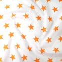 Polycotton Fabric 27mm Starry Sky Stars On White Space Galaxy Orange/ White