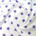 Polycotton Fabric 27mm Starry Sky Stars On White Space Galaxy Purple/ White