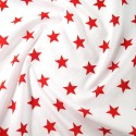 Polycotton Fabric 27mm Starry Sky Stars On White Space Galaxy Red/ White