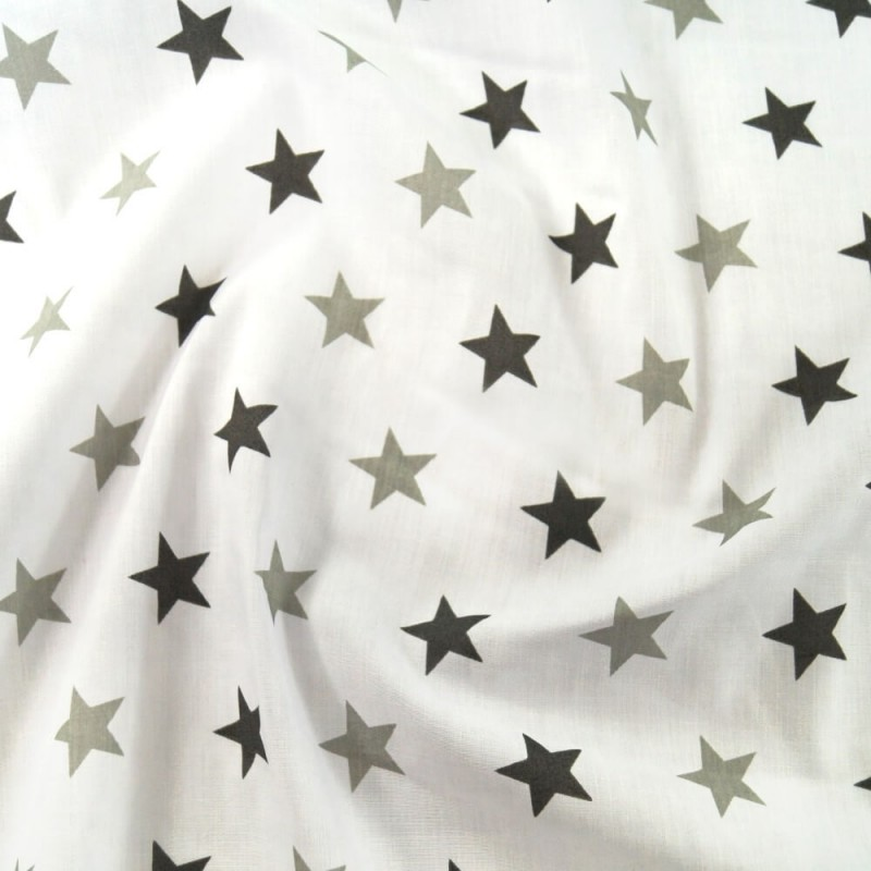 Polycotton Fabric 27mm Starry Sky Stars On White Space Galaxy Light/ Dark