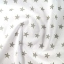 Polycotton Fabric 27mm Starry Sky Stars On White Space Galaxy Silver/ White