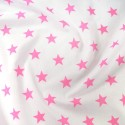 Polycotton Fabric 27mm Starry Sky Stars On White Space Galaxy Pink/ White