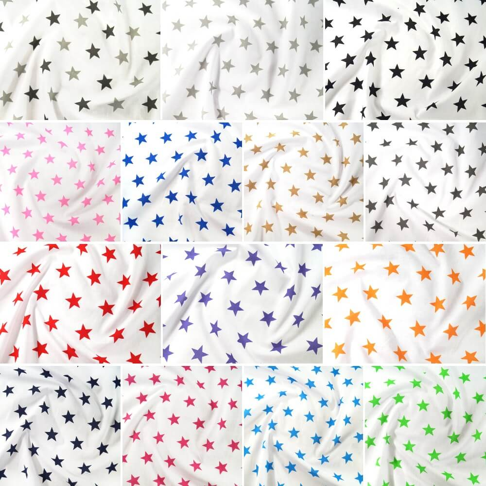 Polycotton Fabric 27mm Starry Sky Stars On White Space Galaxy Light/ Dark