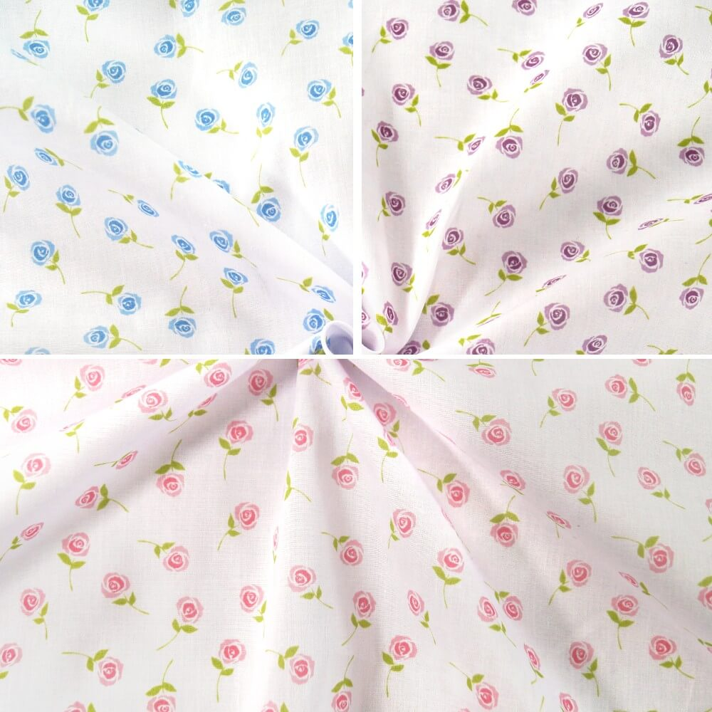 Polycotton Fabric Single Rose Floating Floral Flowers Pink