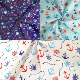 Polycotton Fabric Nautical Anchors Ropes Helms Boat Ships Sailor Sea